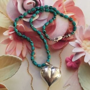 925 silver heart genuine turquoise bead necklace